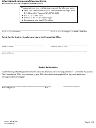 """Form EDUC-1 """"Educational Income and Expense Form"""" - Massachusetts"""