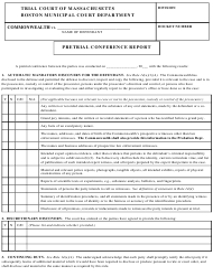 """""""Pretrial Conference Report"""" - Boston, Massachusetts"""