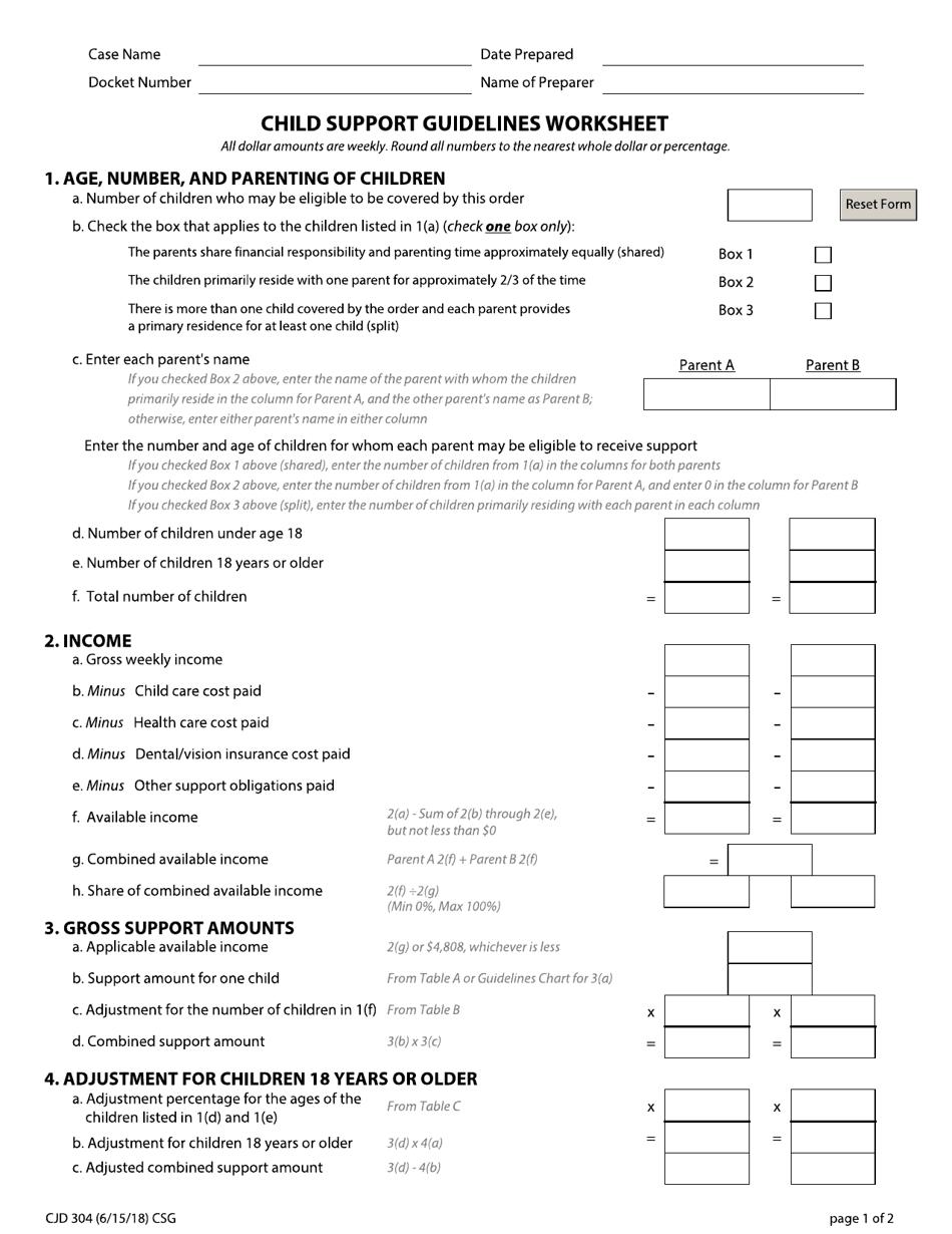 Form CJD304 Download Fillable PDF or Fill Online Child ...