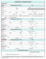 "Form JV-090 ""Confidential Information Sheet"" - Massachusetts"
