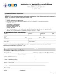 "Form REG108 ""Application for Medical Doctor (Md) Plates"" - Massachusetts"