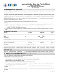 """Form REG113 """"Application for Gold Star Family Plates"""" - Massachusetts"""