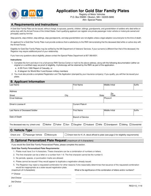 Form REG113  Printable Pdf