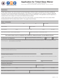 """Form MAB121 """"Application for Tinted Glass Waiver"""" - Massachusetts"""