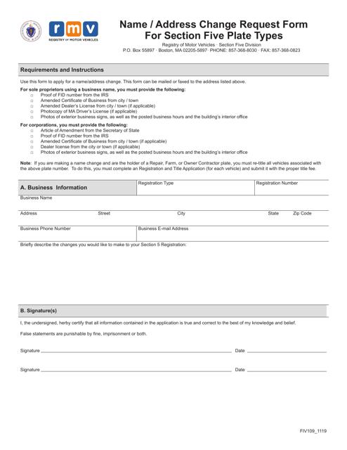 Form FIV109  Printable Pdf