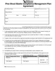 "Form PSB-1 ""Pine Shoot Beetle Compliance Management Plan Agreement"" - Michigan"