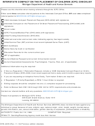 "Form DHS-4335 ""Interstate Compact on the Placement of Children (Icpc) Checklist"" - Michigan"