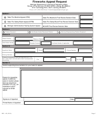 "Form BFS-415 ""Fireworks Appeal Request"" - Michigan"