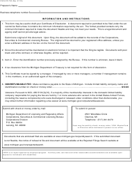 "Form CSCL/CD-730 ""Certificate of Dissolution for Use by Limited Liability Companies"" - Michigan, Page 2"