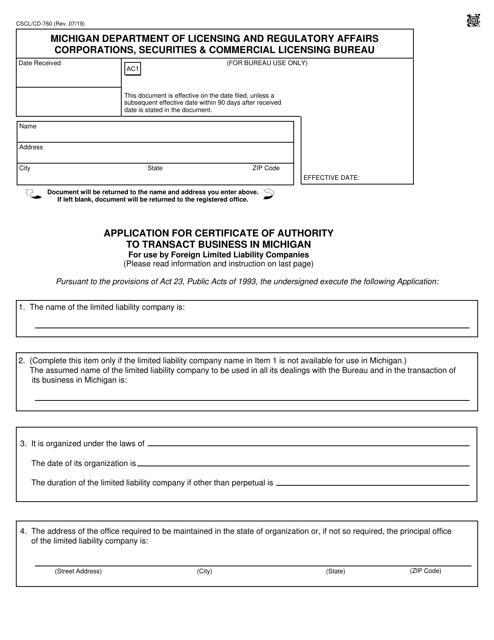 Form CSCL/CD-760  Printable Pdf