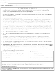"""Form CSCL/CD-760 """"Application for Certificate of Authority to Transact Business in Michigan for Use by Foreign Limited Liability Companies"""" - Michigan, Page 3"""