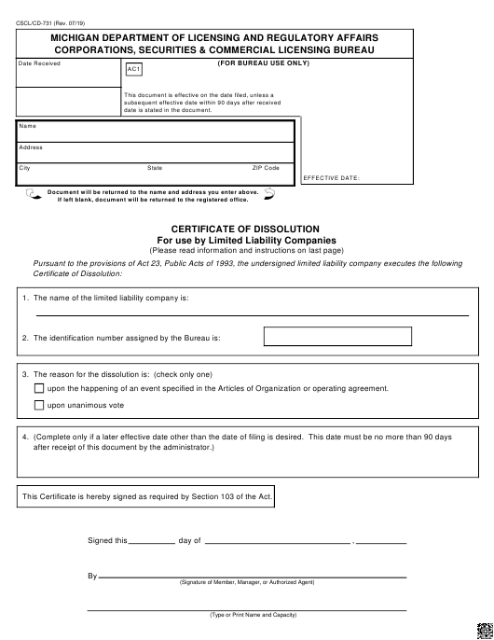 Form CSCL/CD-731 Printable Pdf