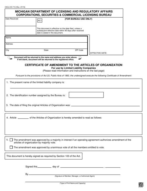 Form CSCL/CD-715 Printable Pdf