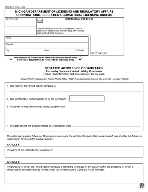 Form CSCL/CD-710 Printable Pdf