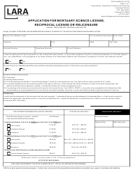 "Form CSCL/LMS-060 ""Application for Mortuary Science License, Reciprocal License or Relicensure"" - Michigan"