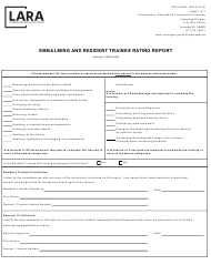 "Form CSCL/LMS-600 ""Embalming and Resident Trainee Rating Report"" - Michigan"