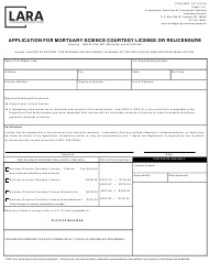 "Form CSCL/LMS-011 ""Application for Mortuary Science Courtesy License or Relicensure"" - Michigan"