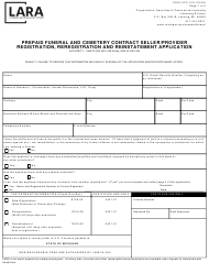 "Form CSCL/LFC-010 ""Prepaid Funeral and Cemetery Contract Seller/Provider Registration, Reregistration and Reinstatement Application"" - Michigan"