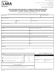 "Form CSCL/LSA-020 ""Application for Security Alarm System Contractor or Security Guard Agency Branch Office License"" - Michigan"