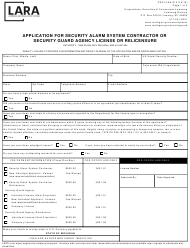 "Form CSCL/LSA-010 ""Application for Security Alarm System Contractor or Security Guard Agency License or Relicensure"" - Michigan"