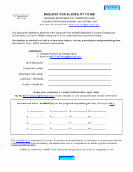 "Form 1381 ""Request for Eligibility to Bid"" - Michigan"