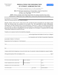 "Form 2012 ""Resolution for Designation of Street Administrator"" - Michigan"