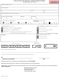 "Form BDVR-162 ""Application for Driver's License Reinstatement"" - Michigan"