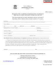 "HBAC Form 1 ""Request for an Order/Authorization to Remove Breath Alcohol Ignition Interlock Device"" - Michigan"