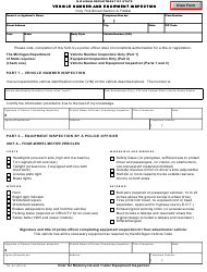 "Form TR-54 ""Vehicle Number and Equipment Inspection"" - Michigan"
