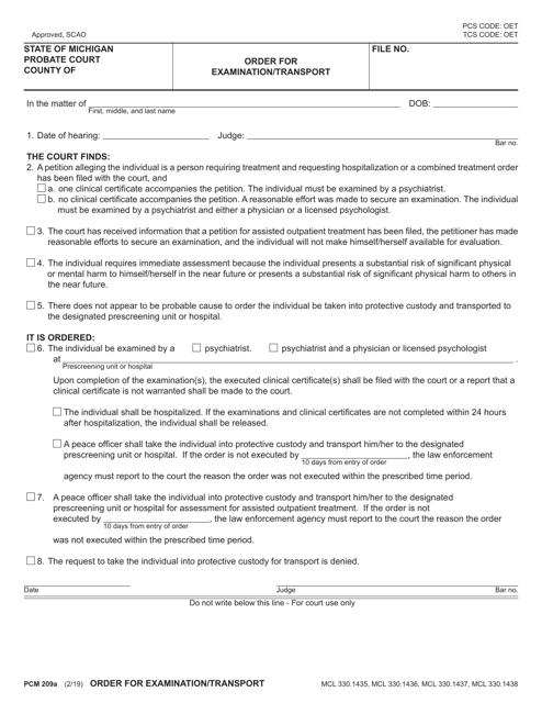 Form PCM209A Printable Pdf