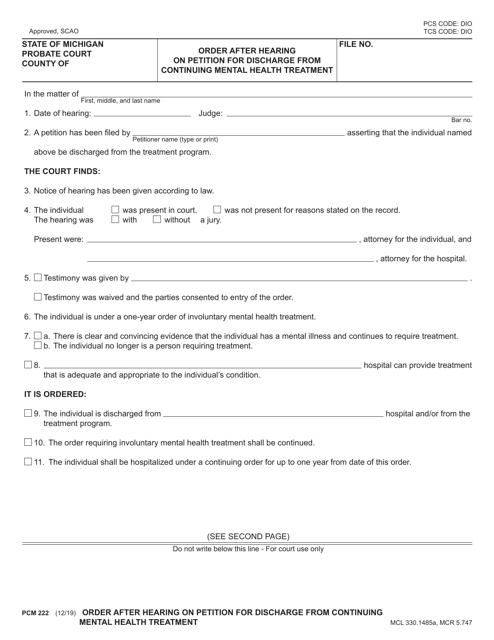 Form PCM222 Printable Pdf