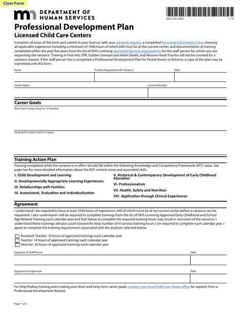 Form DHS-7921-ENG  Printable Pdf