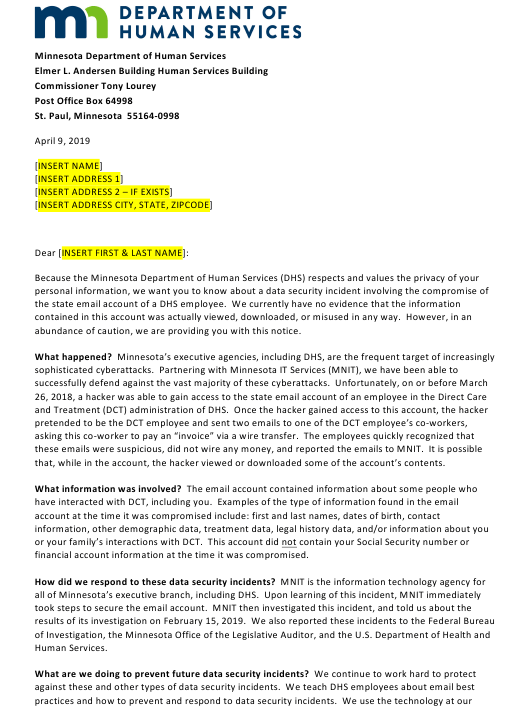 """""""Sample Notification Letter to Clients"""" - Minnesota Download Pdf"""