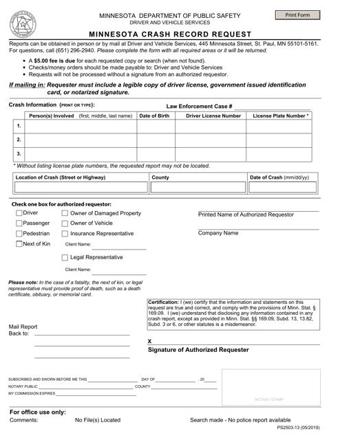 Form PS2503-13  Printable Pdf