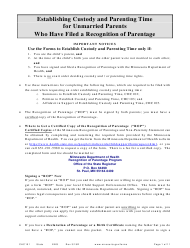 """Form CHC101 """"Instructions - Establishing Custody and Parenting Time for Unmarried Parents Who Have Filed a Recognition of Parentage"""" - Minnesota"""