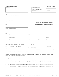 "Form PAR102 ""Notice of Motion and Motion for Parenting Time Assistance"" - Minnesota"