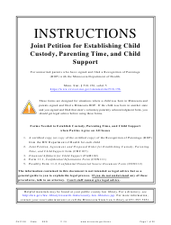 "Form CHC106 ""Instructions - Joint Petition for Establishing Child Custody, Parenting Time, and Child Support"" - Minnesota"