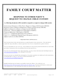 "Form CHC401 ""Instructions - Response to Other Party's Request to Change Child Custody"" - Minnesota"
