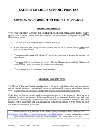 "Form CSX601 ""Instructions - Motion to Correct Clerical Mistakes"" - Minnesota"