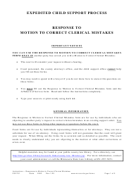 """Form CSX701 """"Instructions - Response to Motion to Correct Clerical Mistakes"""" - Minnesota"""