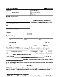 "Form CSD902 ""Notice of Motion and Motion to Modify Medical Support Only"" - Minnesota"