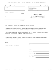"Form CRM611 ""Affidavit of No Ownership/Possession of Firearms or Ammunition"" - Minnesota"