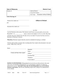 "Form DIV410 ""Affidavit of Default"" - Minnesota"