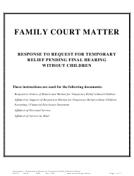"Form DIV701 ""Response to Request for Temporary Relief Pending Final Hearing Without Children"" - Minnesota"