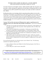 "Form MOV101 ""Instruction Guide to Obtain a Court Order for Transfer of Motor Vehicle Title"" - Minnesota"