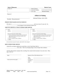 "Form PRO803 ""Affidavit of Mailing"" - Minnesota"