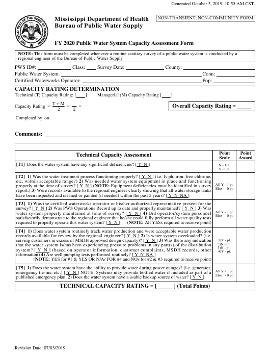 """Capacity Assessment/Inspection Forms for Non-transient Non-community Systems"" - Mississippi Download Pdf"