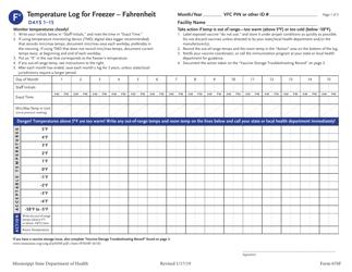 "Form 670F ""Temperature Log for Freezer - Fahrenheit"" - Mississippi"