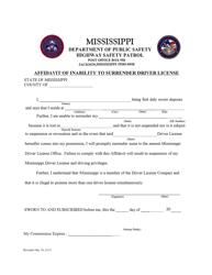 """Affidavit of Inability to Surrender Driver License"" - Mississippi"