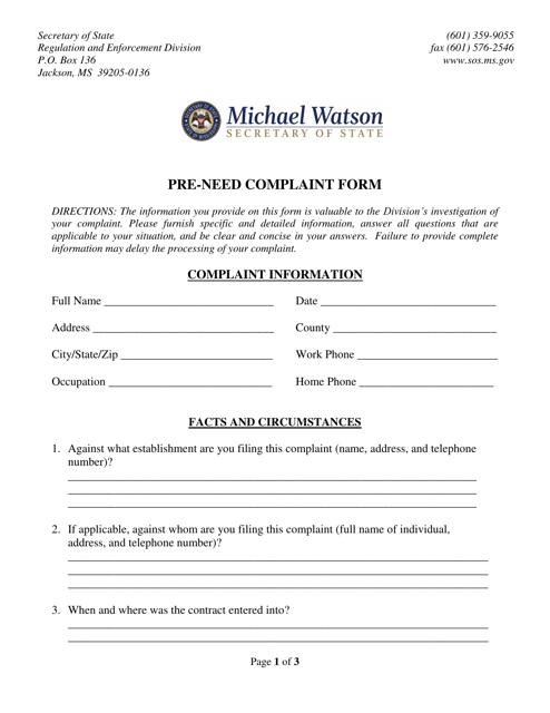 """Pre-need Complaint Form"" - Mississippi Download Pdf"